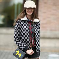 Fashion Plaid 2014 High Quality Wool Street Fashion Blouses Wild   Suede Collar Female Coat Jacket