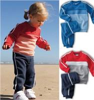 Retail 2014 New autumn children baby boy's girl's autumn spring 2pcs clothing set suit Pattern baby shirt + pants children sets