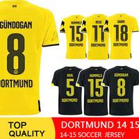 Borussia Dortmund 14 15 soccer jersey top quality HOME 2015 YELLOW REUS Gundogan LEWANDOWSKI HUMMELS football Shirts