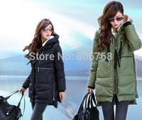 New fashion Brand Long Winter Coat Women White Duck Down Jacket Female Parka With Hood Army Green Black Outwear