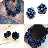 2014 Hot Necklace Fashion Party Chunky Luxury Choker Statement Rose Flower Necklace and Earrings Sets Jeweley 584