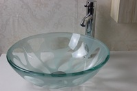 Contemporary Tempered Glass Vessel Sink With Faucet Set  N-300