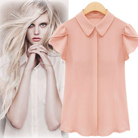 2014 European and American summer new large size women's short-sleeved chiffon shirt collar shirt Slim wild doll shirt shirt