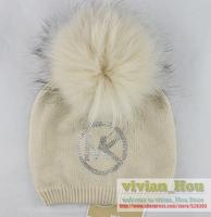 Nice Raccoon fur big bubble pompom women's wool knitted brand name diamonds logo hats wool caps big balls free shipping