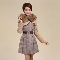2014 New Winter Fashion High Quality Women Patchworl Plaid Slim Long Down Coat Luxury Heavy Fur Collar Thicken Jacket YYJ512