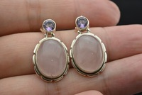 Nepal silver antique models natural crystal powder QUARTZ Earrings in Sterling Silver