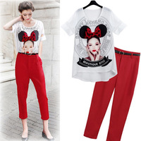 2014 new large size women's short-sleeved T-shirt female summer in Europe and America avatar suit pants feet summer suits T-shir