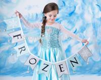 Retail Frozen dresses/baby girls princess Elsa dress/Children summer sequins dress with shawl,3-7Y