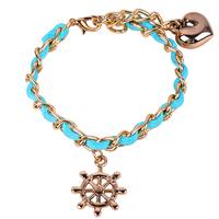 rudder charm bracelet helm bracelet surf bracelet voyage bracelet