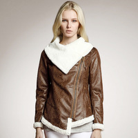 XXL Plus Size Side Zip Fashion Women Winter  Star Style  Motorcycle Jacket Fur Coat Warm Suede Thick Outer Wear