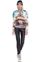 2014 New arrival Ladies' elegant beautiful scenery print Pullover O-neck long sleeve causal slim sweatshirts brand design tops