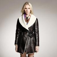 2014 autumn  winter new women's British retro  big  suede lamb  long design fashion outerwear coat 3 color