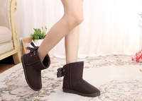 New 2014 women winter snow boots, warm flat heel solid bowknot snow boots, Ankle Platform Mid-calf boots free shipping