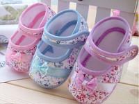 2014 New Fashion Autumn Girls Flowers Bow Baby Toddler Shoes 11cm 12cm 13cm Children Footwear First Walker