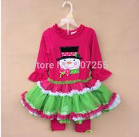 Free shipping children clothing girls princess Christma snowman gift dress long sleeves TUTU dress red  leggings rare editions Q