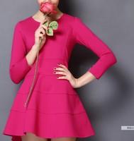 women autumn dress 2014 solid color three quarter vintage Hepburn wind elastic cotton slim waist casual dress summer dress
