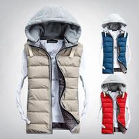 M -XXXL 2014 New Autumn Winter Men High Quality Casual Hooded Vest Cotton-padded Waistcoat Couples Sleeveless Jacket