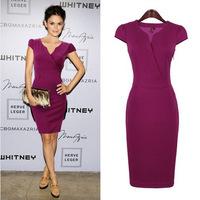New Arrival Women Office Dress Summer Chiffon Sheath V-Neck Knee-Length Brief Purple Dresses KB181