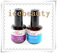 2014 HOT 2pcs UV Top Coat Primer Base Gel Nail Art Tips Builder Acrylic Polish Set