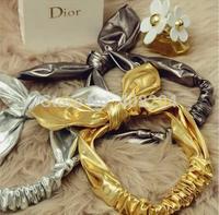 lady gaga fashion headwear characteristic Pu metallochrome bow headband hair band party bunny headband gold silver gray