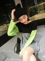 2014 Autumn New Arrival Women's Full Sleeve Striped Contrast Color O Neck Long Sweatert Pullover Free Size Free Shipping