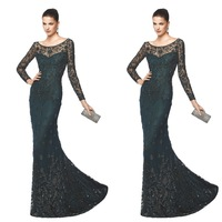 Beautiful Mermaid  Jewel Neck Long Sleeve Lace With Beaded  Long Sleeve Mermaid Evening Dress