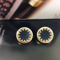 Free shipping!Fashion Jewelry Black Sunflower Leather Alloy earrings Punk Earrings for female