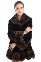 2014 European Genuine Natural Mink Fur Coat Jacket with Turn-down Collar Winter Women Fur Outerwear Coats Lady Clothing QD70709