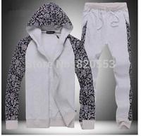 2014 Spring winter  comfort single copper metal zipper design Men's Sport suit Fleece sweater pants hoodies sport set.
