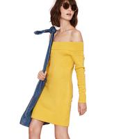 Sweater  Sexy Bra rib collar knit sweater dew backpack hip Slim pencil Dress