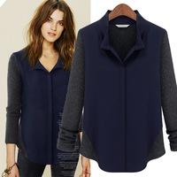 2014 Spring Autumn Women European Elegant Fashion Chiffon Wool Patchwork Long sleeve Blouse Tops, Ladies shirt S/M/L/XL