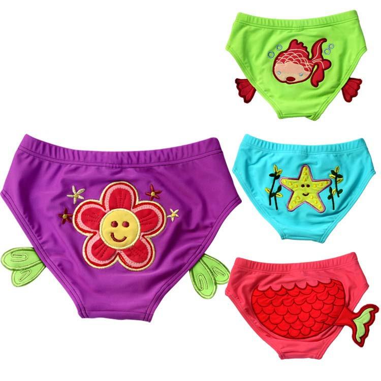 Free shipping cartoon picture children Swimming Trunks, cute baby girls Swim Shorts, fish and starfish triangle swimming trunks(China (Mainland))