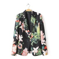 2014 Autumn and Winter New Women Fashion Floral Prints Long Sleeves Blazers Ladies Waisted Coats With Single Button 3049326804