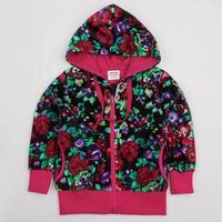 NOVA kids wear embroidered beautiful flowers fleece zipper hoody jacket coat winter spring for girls F3926