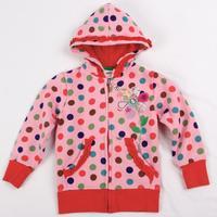 NOVA kids girls winter clothes lace trimmings polka dot lace trimmings zipper up girls jacket hoodies F3328