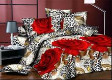 Rosa vermelha leopardo da pele 3d impresso edredons roupa de cama full / queen size econômico cama quilt cover folha plana pillow sham set(China (Mainland))