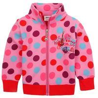 girls clothing tops 2014 NOVA kids girls winter autumn clothes dot zipper up girls cotton pink long jacket hoodies coat F3543