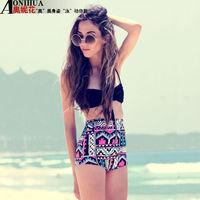 2014 Hot sale brand high waist biquini girl's swimwear vintage bikini brazilian plaid  biquinis women print bikinis set