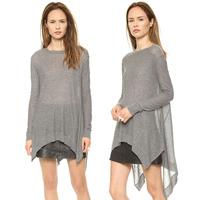 Sweater  Trace charming sense of asymmetrical hem hem cuffs Rib knit sweater drape