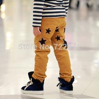 2014 boys and girls winter pants children Pentagram corduroy winter trousers kids' leggings sports pants children clothing