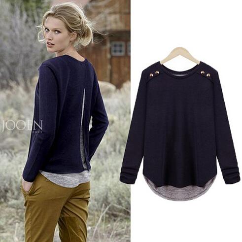 New Arrival 2014 Outono blusa Causal Plus Size Algodão Blusas europeus para as Mulheres solta manga comprida camisas M- 4XL Blusas Femininas(China (Mainland))