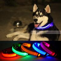 Nylon LED Dog Night Safety Collar Flashing Light up W/circular Pendant Collar