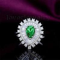 2014 September New Pear 5x7mm 18kt White Gold Natural Diamond Emerald Engagement Gemstone Ring