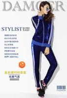 Plus Size XL-4XL Fat Women Velvet Striped 2pcs Suit Set Casual Tracksuit Free Shipping d66346636
