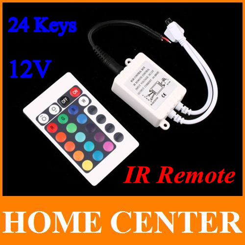 2PCS DC 12V 24 Keys IR RGB Remote Controller for SMD 3528 5050 RGB LED SMD Strip Lights free shipping with tracking number(China (Mainland))