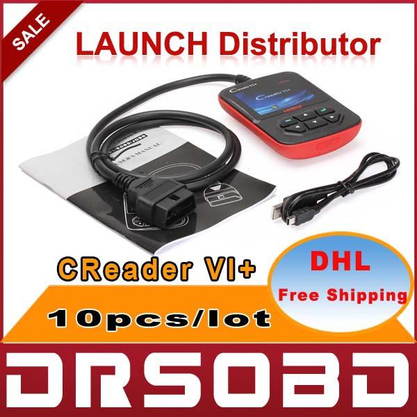 [10pcs/lot] Launch CReader VI+ Support JOBD / OBD2 100% Original CReader VI Plus version DHL free shipping(China (Mainland))