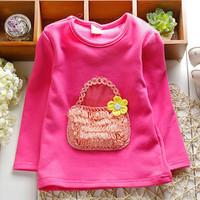 Retail 2014 Autumn Baby Girls T-shirt Long Sleeve Korean Baby Clothes Flower Bag Children Tops & Tees Cotton Kids Clothing