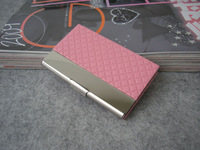 Hot sale new arrive high quality Pink Plaid pattern PVC leather business card case metal frame card holder 1318