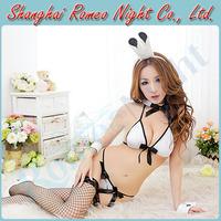 Bedroom Fun Flirt Naughty Bunny Girl Uniforms Costume w/ Fishnet Stockings, Female Sexy lingerie Costumes