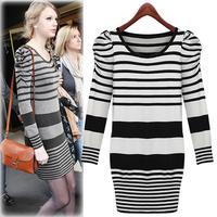 2014 Autumn European Styel Striped Long Ladies Slim Knitwear, Women's Pullover Sweater Dress